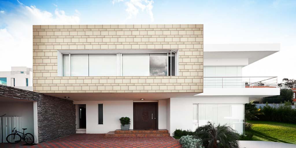 Facade panels with stone imitation